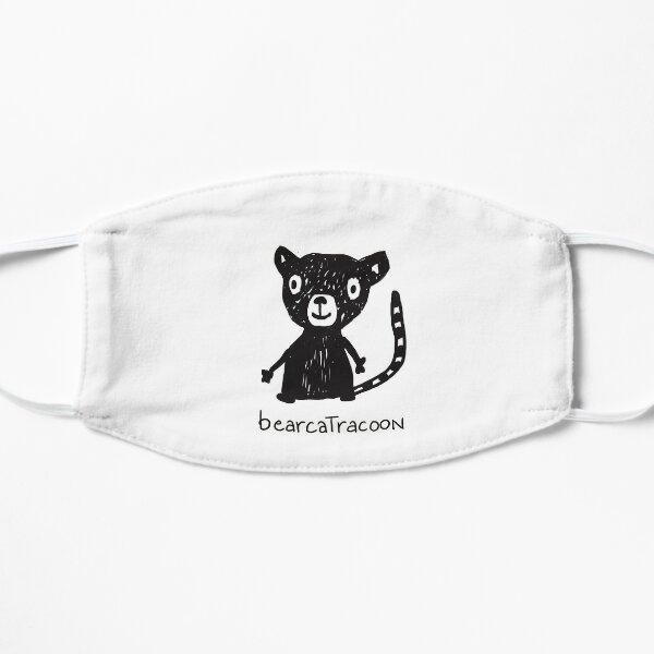 lustige Tierzeichnung, schwarz weiss Strichzeichnung, Bär, Katze, Waschbär Flache Maske