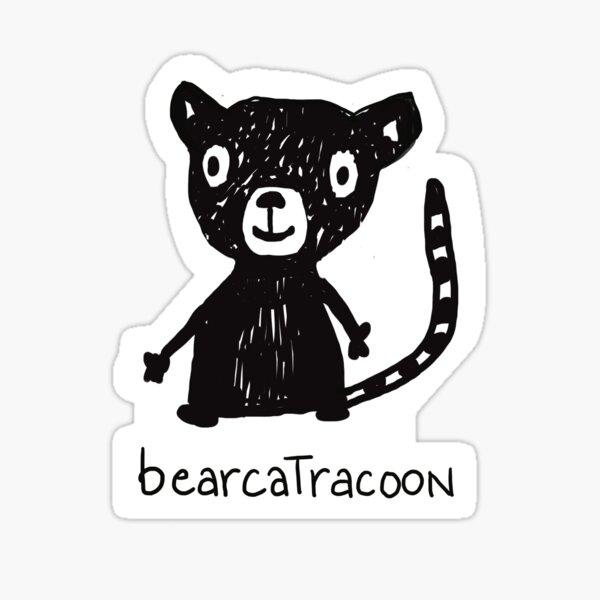 lustige Tierzeichnung, schwarz weiss Strichzeichnung, Bär, Katze, Waschbär Sticker