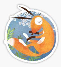 Sleeping Fox with Cherry Blossom and Fern Sticker