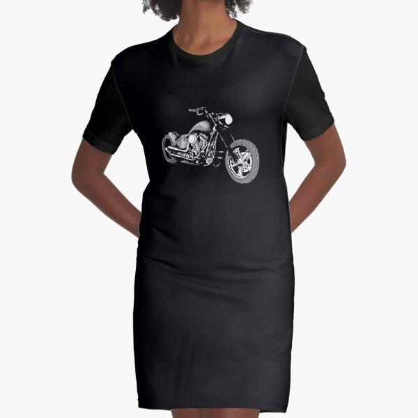 HD Softail Motorcycle, Light White Grey Graphic T-Shirt Dress