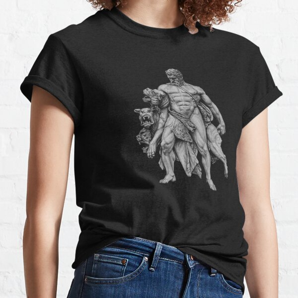 Drawing of Hercules capturing Cerberus for black and dark background Classic T-Shirt