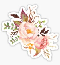 Peach Watercolor Peonies Sticker