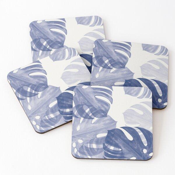 Blue Monstera Leaves  Coasters (Set of 4)