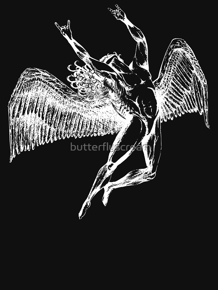 ICARUS THROWS THE HORNS - white ***FAV ICARUS GONE? SEE BELOW*** by butterflyscream