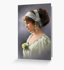 Colorized Vintage Young Beauty III Greeting Card