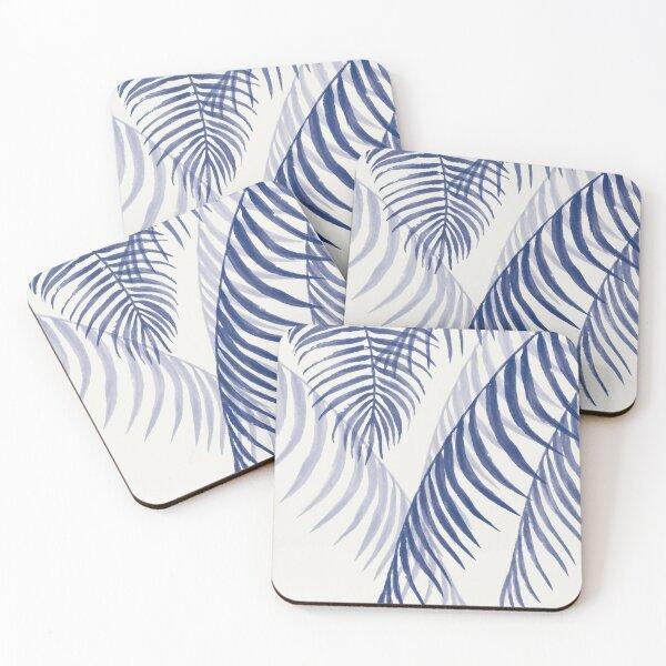 Blue Palms Leaves  Coasters (Set of 4)