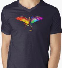 Stolzer Drache T-Shirt mit V-Ausschnitt