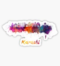 Karachi skyline in watercolor Sticker