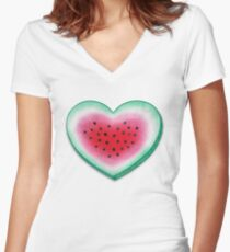 Summer Love - Watermelon Heart Women's Fitted V-Neck T-Shirt