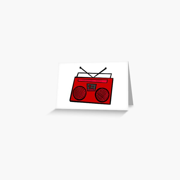 Red Boombox Greeting Card