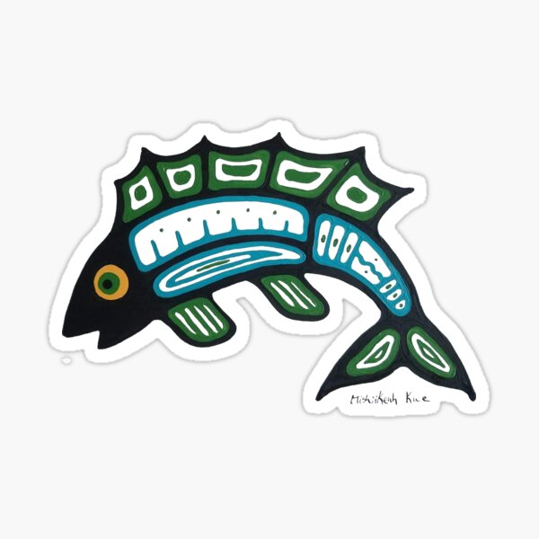 Blue and green fish Sticker