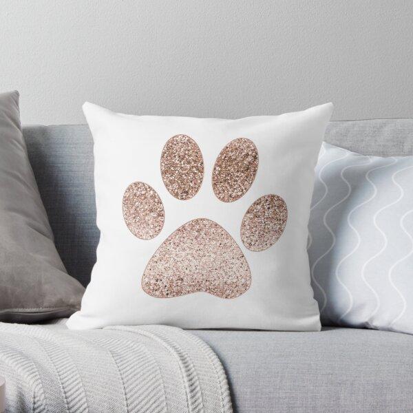 Sparkling rose gold paw print Throw Pillow