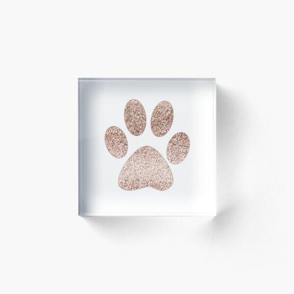 Sparkling rose gold paw print Acrylic Block