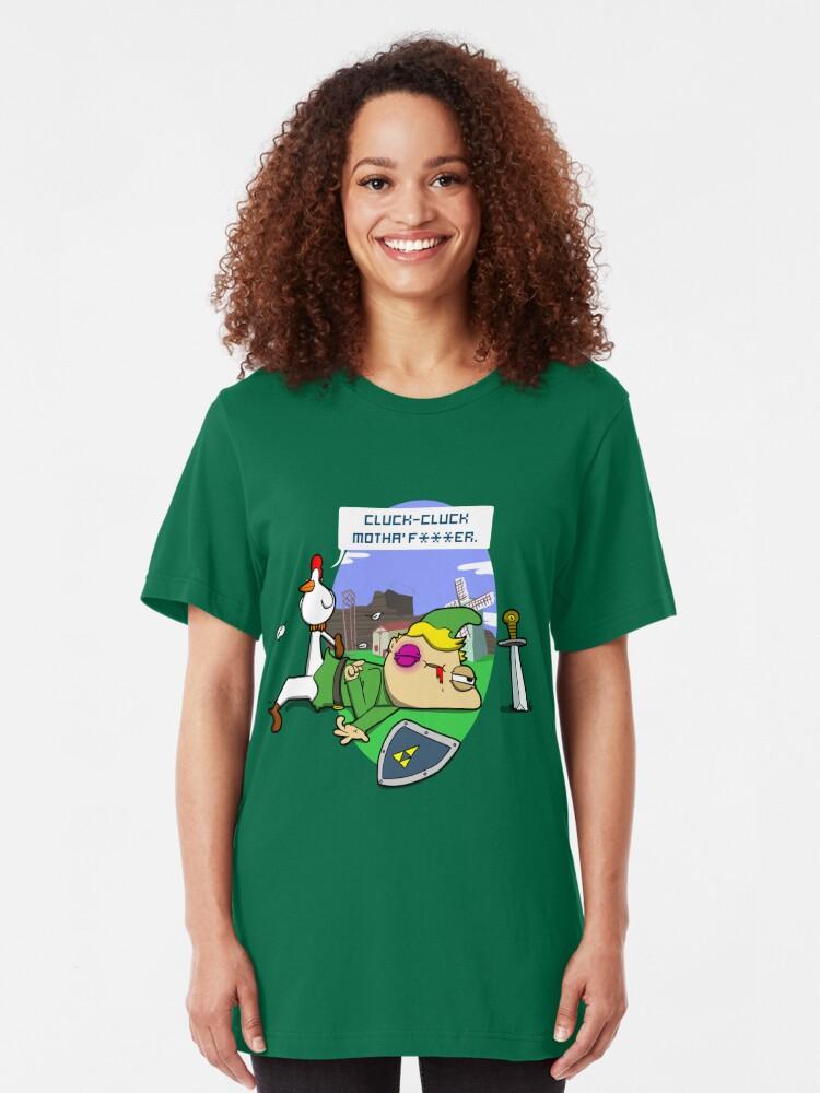 Alternate view of Cluck Cluck Motha' F***er.  Slim Fit T-Shirt
