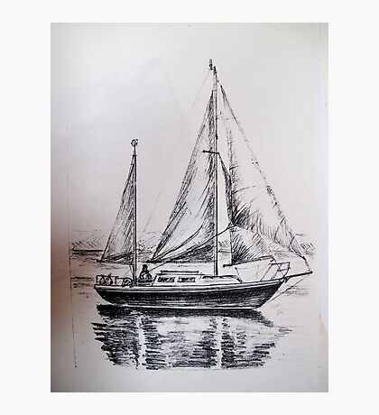 A Pencil Drawing of My Yacht - S/Y Magali Photographic Print