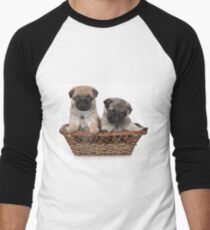 Funny cute pug puppies Men's Baseball ¾ T-Shirt