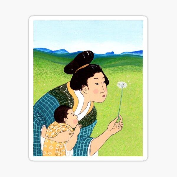Mrs Hokusai and the Dandelion Wish Sticker
