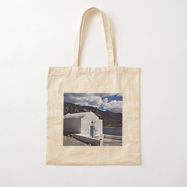White Greek Church Cotton Tote Bag