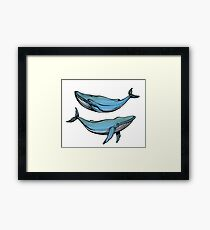 Whale couple in love  Framed Print
