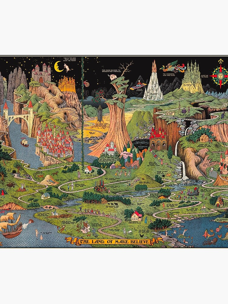 The land of make believe. Published by Jaro Hess 1930 Cornucopia of Fairy Tales Detailed Labeled Map Fun Magical Fantasy Art by Ejaaz