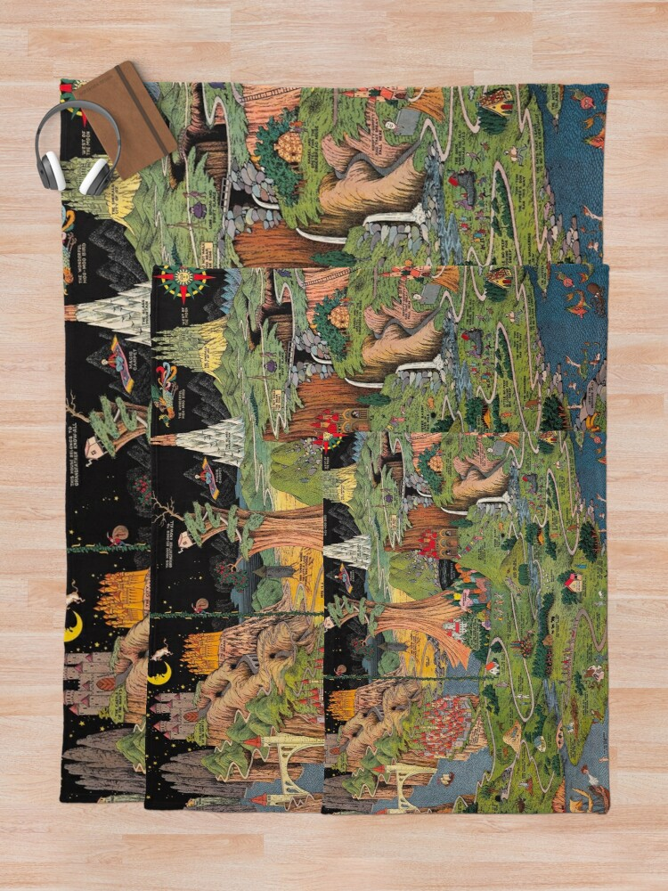 Alternate view of The land of make believe. Published by Jaro Hess 1930 Cornucopia of Fairy Tales Detailed Labeled Map Fun Magical Fantasy Art Throw Blanket