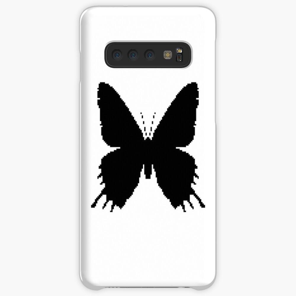 8-bit Simplex pixel Black butterfly Case & Skin for Samsung Galaxy