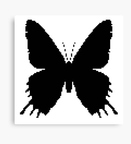 8-bit Simplex pixel Black butterfly Canvas Print