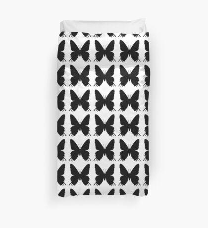 8-bit Simplex pixel Black butterfly Duvet Cover