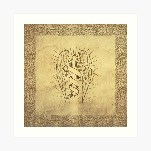 Antique - Cross with wings Art Print