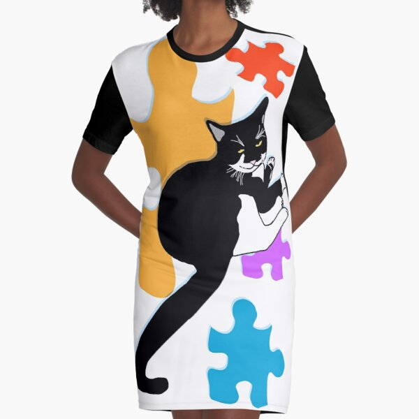 CUTE Tuxedo Cat Don't play with my toys Graphic T-Shirt Dress