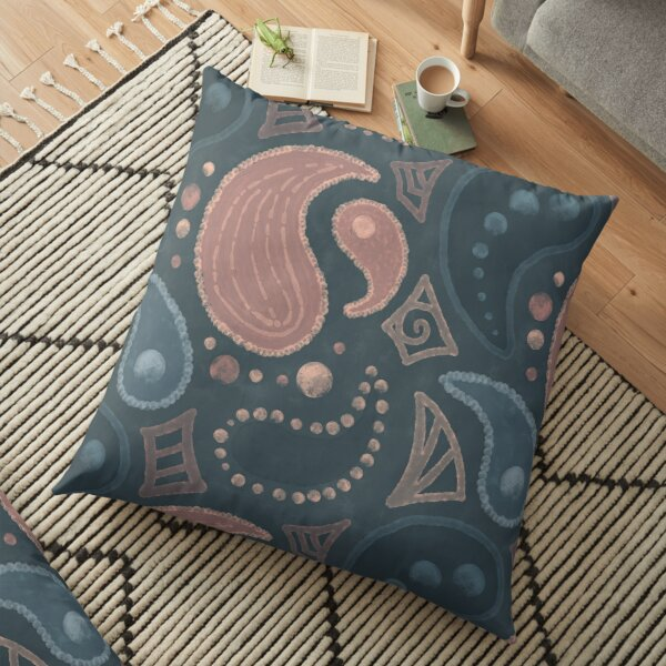 Painted Paisley Seamless Pattern Floor Pillow