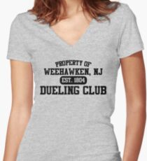 Property of Weehawken NJ Dueling Club Women's Fitted V-Neck T-Shirt
