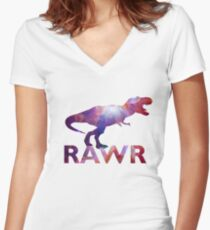 Space T-Rex Dinosaur, Blue and Red Women's Fitted V-Neck T-Shirt