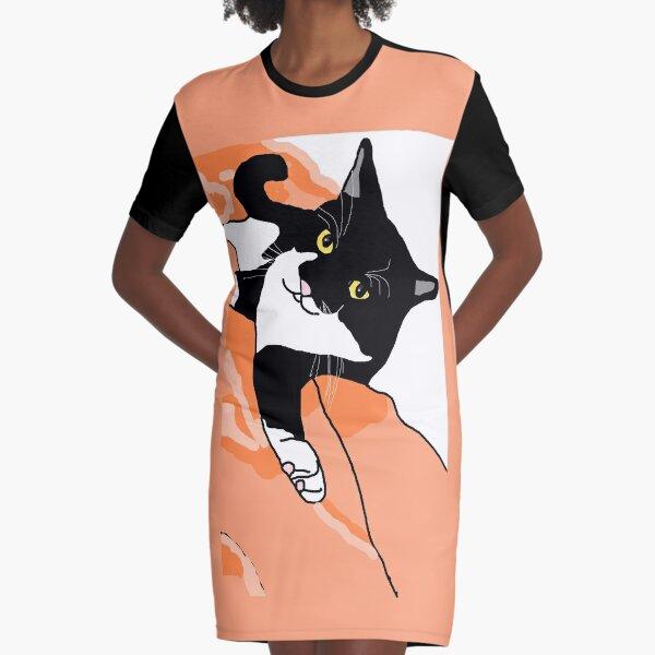 CUTE Tuxedo Cat Resting Graphic T-Shirt Dress