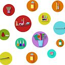Flat Design Beauty Salon Spa Flat Design Spa Round Icon Set Sticker By Zebar Finch Redbubble