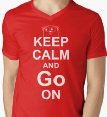 KEEP CALM AND Go ON - White on Red Design for Go Programmers Men's V-Neck T-Shirt