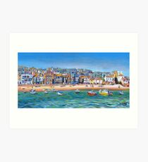 Acrylic painting, St Ives Harbour, Cornwall art Art Print
