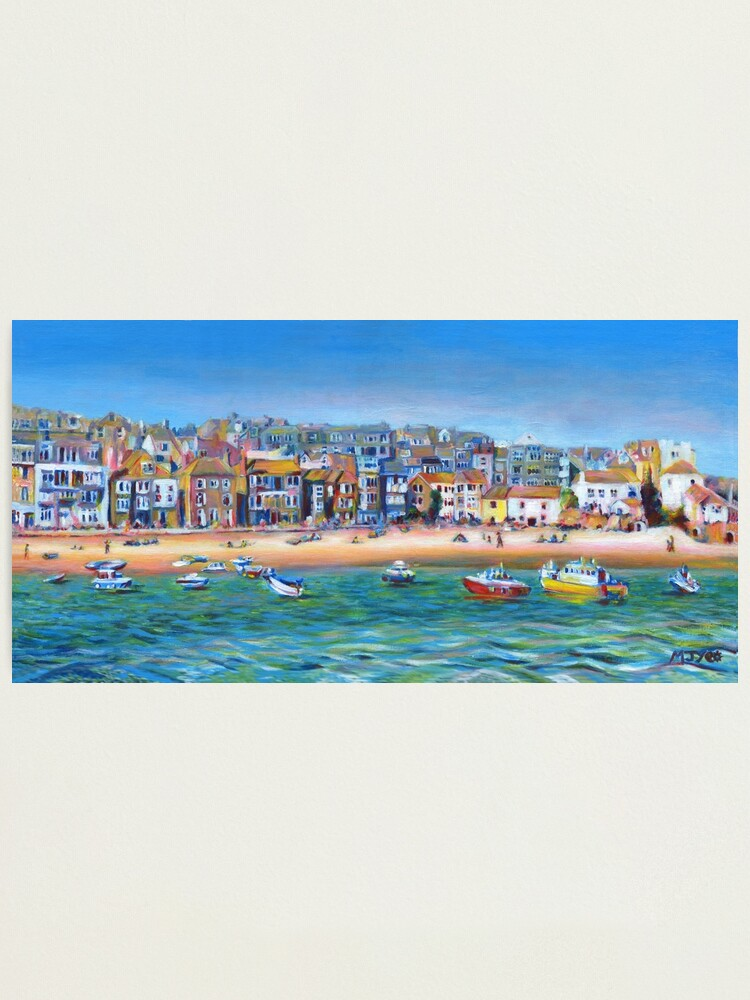 Alternate view of Acrylic painting, St Ives Harbour, Cornwall art Photographic Print