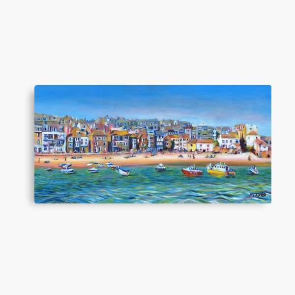 Acrylic painting, St Ives Harbour, Cornwall art Canvas Print