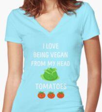 I Love Being Vegan Funny Veganism Women's Fitted V-Neck T-Shirt