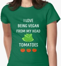 I Love Being Vegan Funny Veganism Womens Fitted T-Shirt
