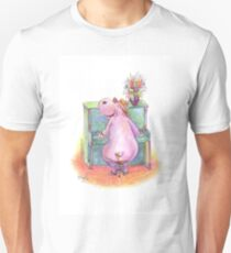 Hippo playing the Piano Pencil Drawing of Music Animal Unisex T-Shirt