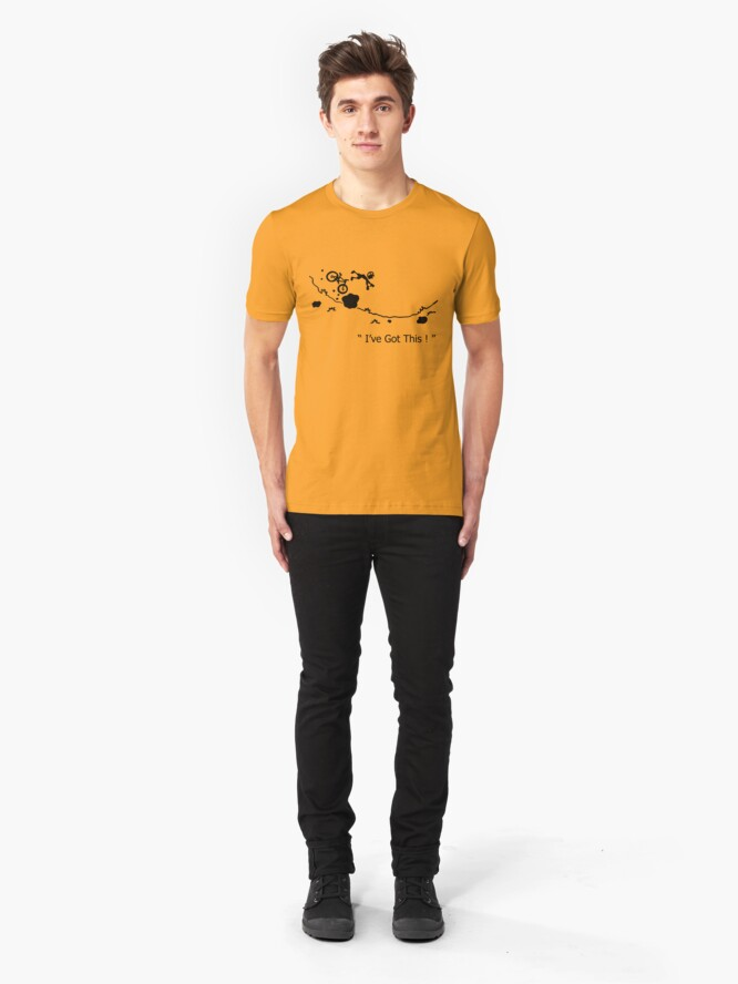 "Alternative Ansicht von Cycling Crash, Mountain Bike ""Ich habe das!"" Cartoon Slim Fit T-Shirt"