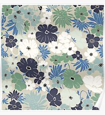 Vinage Flowers Pattern Poster
