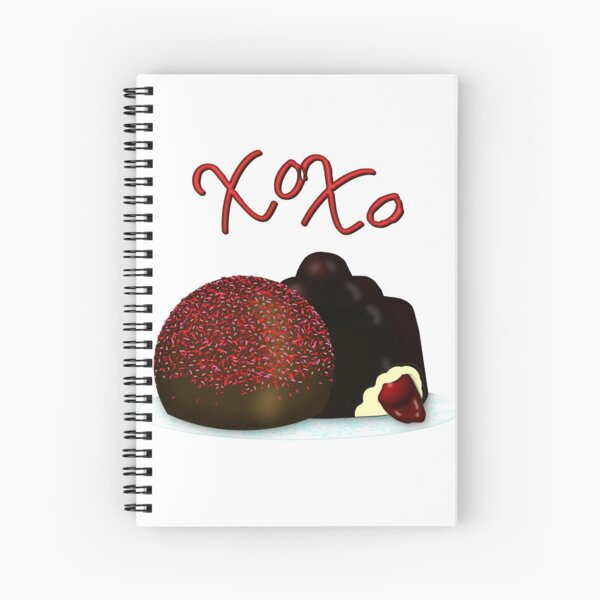 XOXO Valentine Bonbon and Dark Chocolate Covered Cherry Spiral Notebook