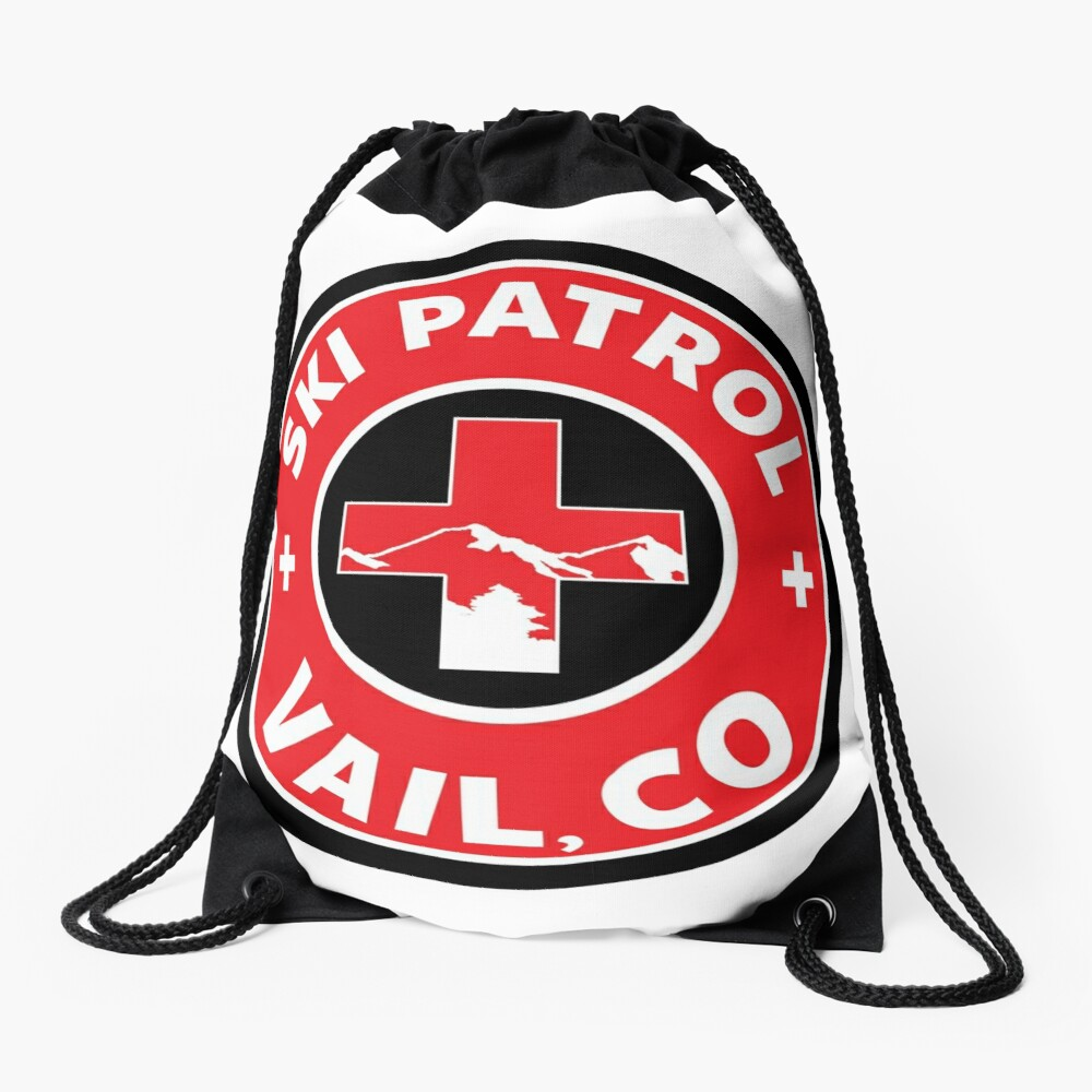 VAIL COLORADO Skiing Ski Patrol Mountain Art Drawstring Bag