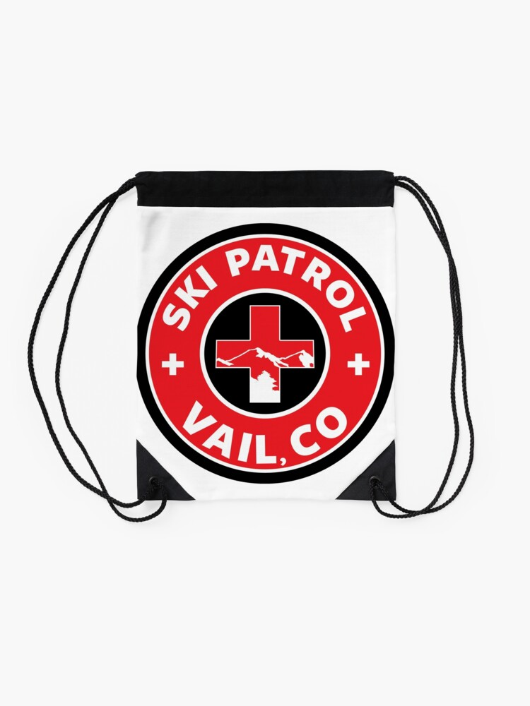 Alternate view of VAIL COLORADO Skiing Ski Patrol Mountain Art Drawstring Bag