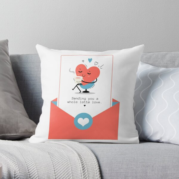 Sending you a whole latte love Throw Pillow