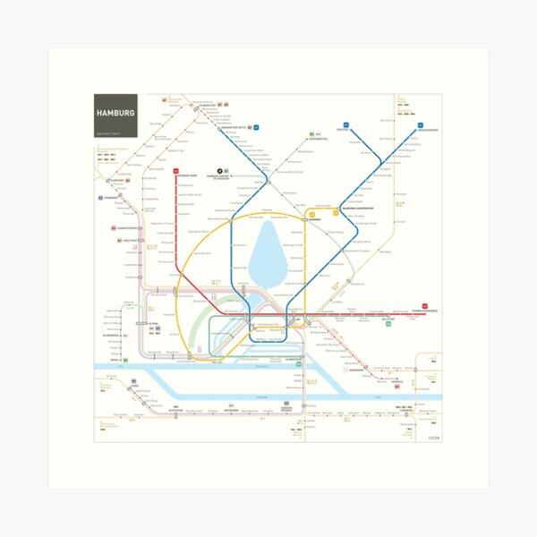 Hamburg U-Bahn S-Bahn Karte Kunstdruck