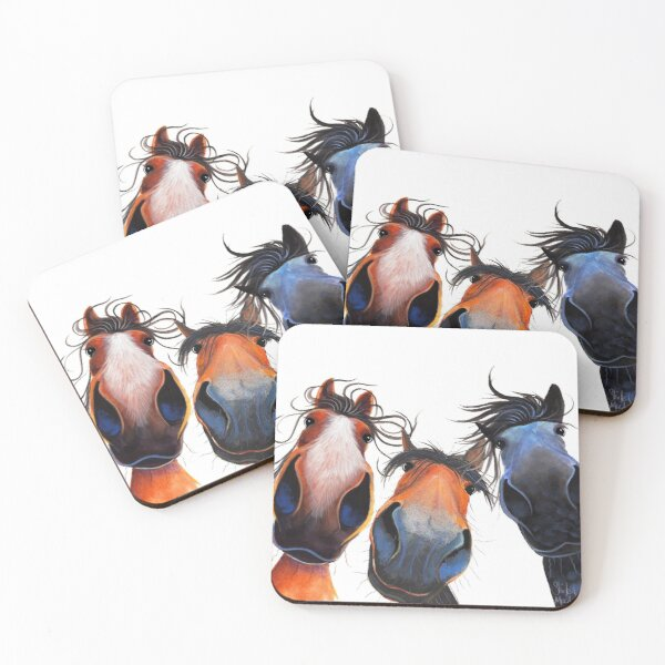 HaPPY HoRSe PRiNT ' WHo LeFT THe GaTe OPeN ? ' BY SHiRLeY MacARTHuR Coasters (Set of 4)